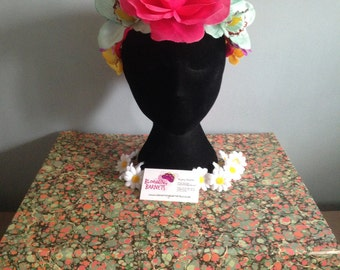 Flower crown, pink, turquoise, purple and yellow; daisies and orchids