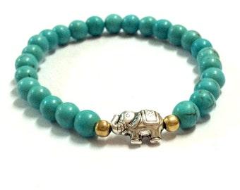 Genuine Turquoise with Silver Elephant Yoga Mala Bracelet - Natural Spirited Stones Bracelet - Healing Stones Bracelet - Stretch Bracelet