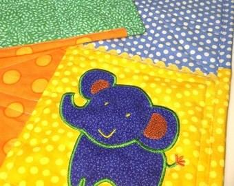 Elephant Baby Quilt, Personalized Baby Quilt, Baby Name Quilt, Baby boy quilt, Crib Baby Quilt, Elephant Baby blanket