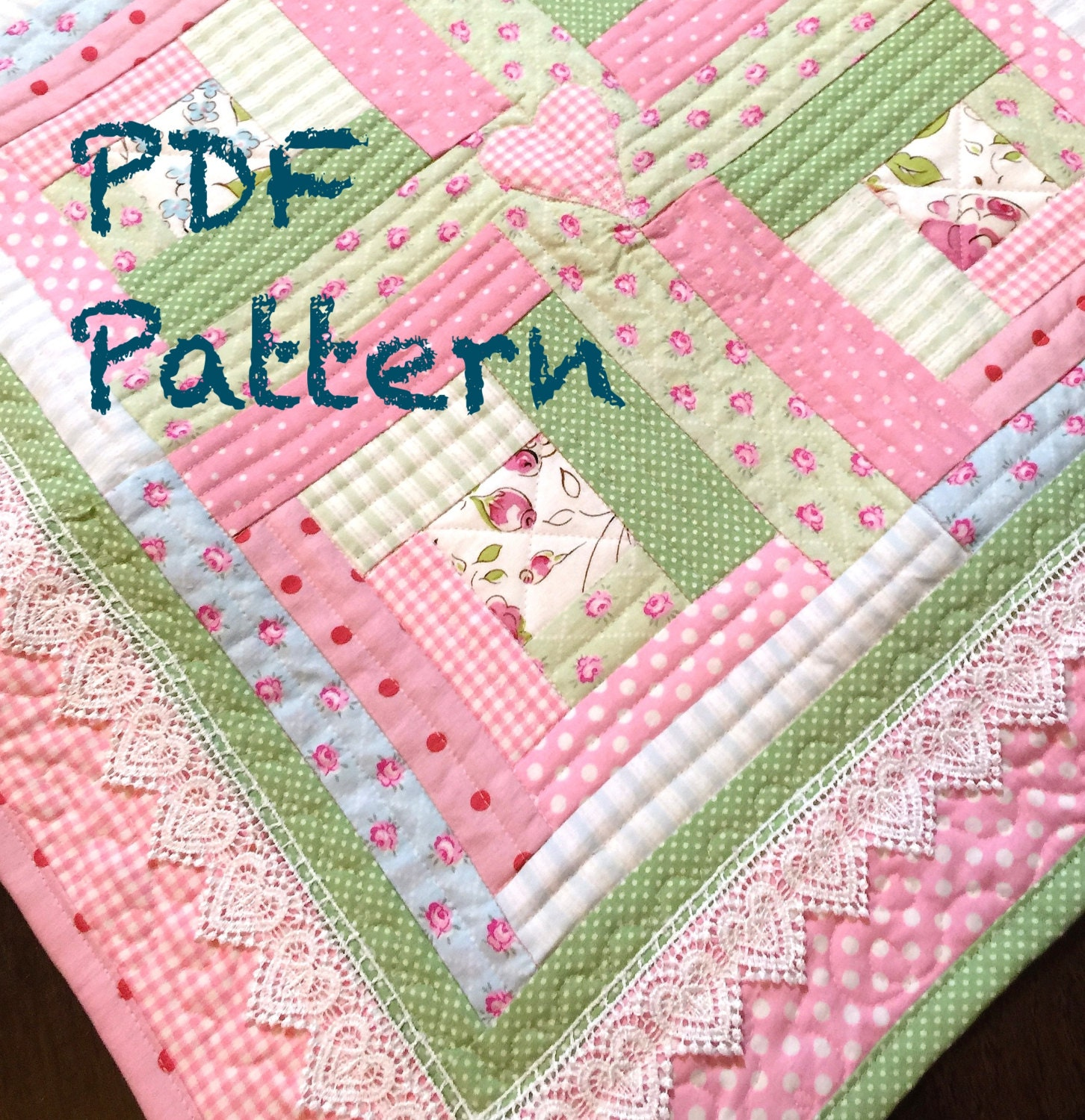 Pattern For Log Cabin Heart Quilt : Chic Baby Girl Quilt Pattern Modern Log by ChristineJDesigns