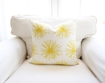 Sunshine & Stardust Pillow Cover | Yellow | Floral | Dandelion | Burst | Bright | 18x18