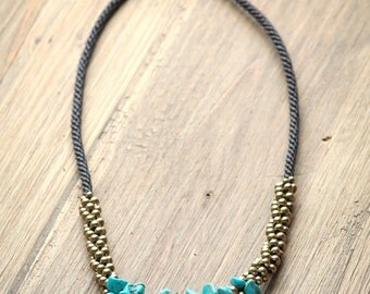 Chunky Turquoise Necklace - Brass Balls Necklace - boho Women Necklace - Turquoise Necklace - Bohemian Women Necklace