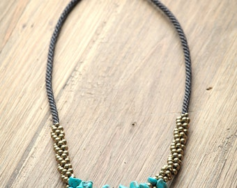 Statement Turquoise Necklace - boho necklace with  chunky turquoise  and brass beads