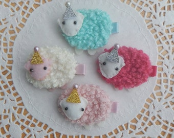 Lamb Hair Clip, Sheep Hair Clip, Girl Hair Clip, Baby Hair Clip, Hair Clip, Hair Accessories