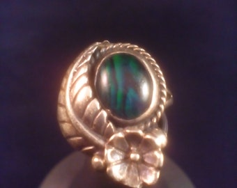 SALE! Beautiful South Western teal abalone ring
