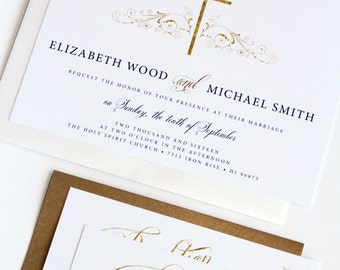 Golden Elegant Christian Invitation, Printable or Printed - Your Choice, Elegant, Classy, New by Paradise Invitations