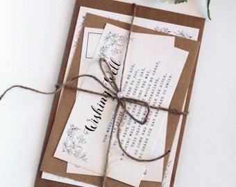 Rustic Wedding Invitation Set, RSVP Postcard, Twine and Pearls Invitations, Printable Files or Printed Cards, Rustic Modern Invitations