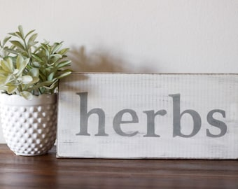 READY TO SHIP! Wooden Herbs Sign, Rustic Herb Garden Sign, Rustic Sign, Kitchen Sign
