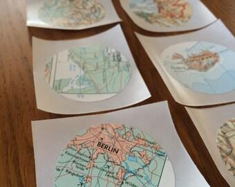 Handmade Vintage Map Stickers // Envelope Seals // Embellishment // 10 Count
