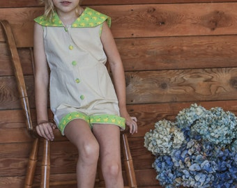Little Girl's Organic Cotton Romper with Ducks and Polkadot Pattern -- Sizes 2t, 4t, 6