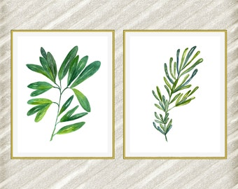 "Watercolor Herbs Print 16x20: ""HERB DIGITAL PRINT"" Kitchen Wall Decor botanical kitchen prints Kitchen Printable herb art print set of 2"