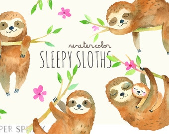 Sleepy Sloths Clipart | Baby Watercolor Sloth Clip Art - Mommy and Baby Sloth with Flowers, Watercolor Animals - Instant Download PNG files
