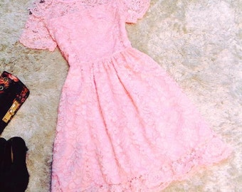 Pink Princess Lace Wedding / Bridesmaid /Engagement/ Prom/ Formal dress