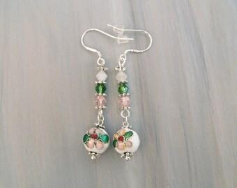 White Cloisonne Earrings, Flower Bead Dangle Earrings, Floral Earrings, Swarovski Jewelry, Spring Earrings, pink, green, white
