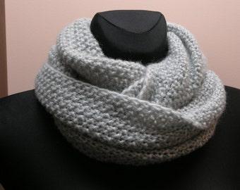 Handmade knitted light grey infinity scarf