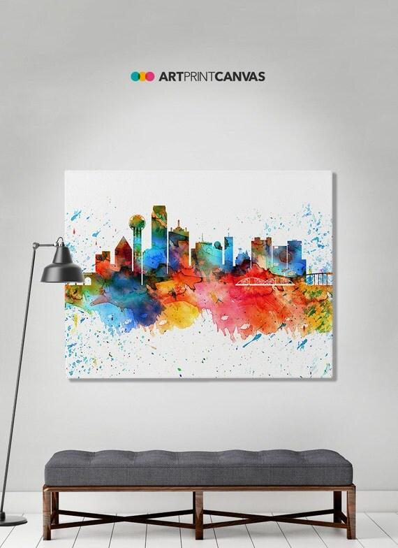 Dallas Print Canvas Print Dallas Watercolor Skyline Dallas