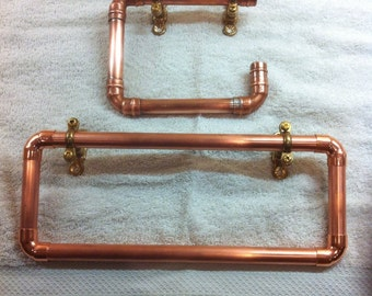 Copper towel rail & toilet roll holder