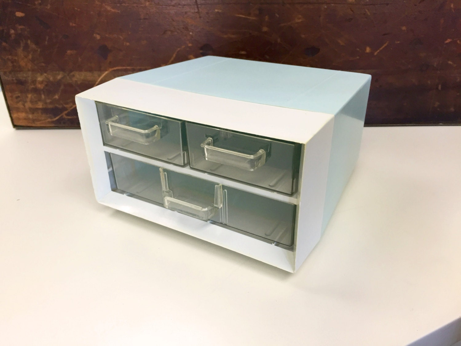Blue white desk organizer with 3 drawers campro made in - Desk organizer white ...