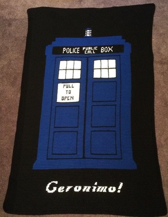 Tardis Blanket Knitting Pattern : Doctor Who TARDIS Geronimo crochet blanket