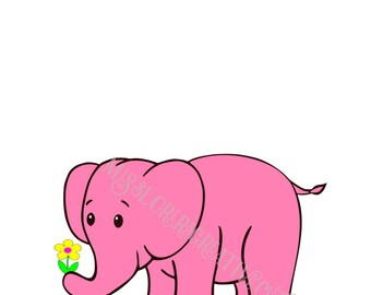 Pink Elephant  SVG   cut file    animals  Baby shower canvas SCRAPBOOKING