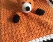 Crochet Fox Lovey Stuffed Plush Security Travel Blanket Wubbie
