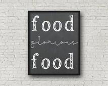 Food Glorious Food Chalkboard Kitchen Art - Digital Print - Wall Art - Home Decor - Prints - Food  - Instant Download - 8x10 - Printables