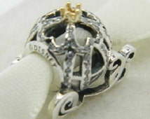 CINDERELLA PUMPKIN COACH -- Genuine Disneys Cinderella  / Silver s925 / Cinderella Pumpkin Coach  / New / Gold Crown / With Box