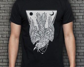 Black Men's Crow T-shirt S M L XL XXL