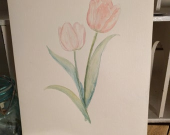 Original Watercolor Pink Tulip Painting