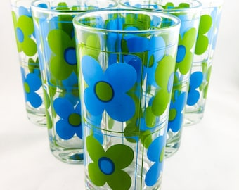 Flower Power Blue and Green Retro Tumblers