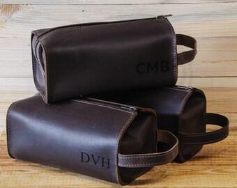 Leather Personalized Dopp Kit, leather, Mens Toiletry Bag, Mens Wash Bag, Mens Cosmetic Bag, men's travel case, Shaving Bag, Dark brown