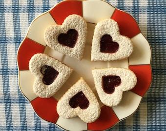 2 dozen of Linzer hearts/cookies - traditional european/czech cookies