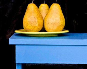 THREE PEARS, still life photography, nature,photography, pears, wall art, wall decor, beautiful,  GeddieGallery
