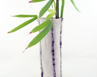 Eco Friendly Black and White Wool Felt Vase