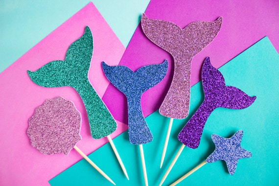12 Mermaid Cupcake Toppers Mermaid Tail Cake Mermaid Cupcakes