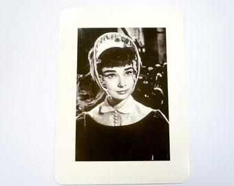 Audrey Hepburn Retro Postcard/ Black and White Photography Postcard/ Audrey Hepburn With Hat/ Hollywood Movie Star Classic