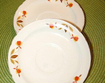 Two Autumn Leaf Saucers//Made by Hall Glass Co.//Vintage Saucers