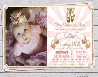 Ballerina Birthday Invitation, Tutu Birthday Invitation, Vintage Modern Pink White Gold Glitter Photo Invitation for Girl Ballerina