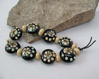 Handmade Black and Ivory Lampworked Flameworked Bead Set with small filler beads