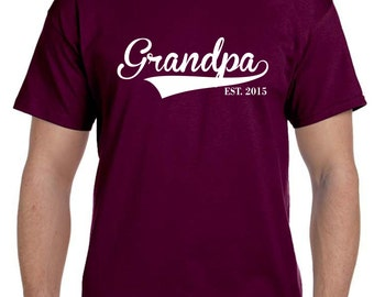 Personalized Gift Grandpa Est Shirt Pregnancy Reveal to Grandparent Fathers Day Gift Personalized Grandparent Gift New Grandparent Christmas