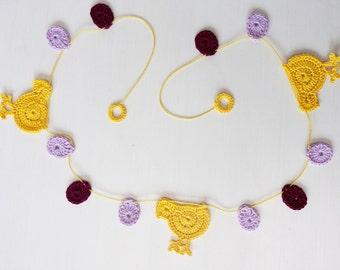 Crochet Easter Garland - Chicken and Egg Garland - Easter Decoration - Spring Garland