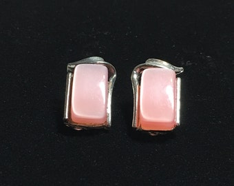 Vintage Pink Thermoset Lucite Moonglow Earrings Rectangle 1950s