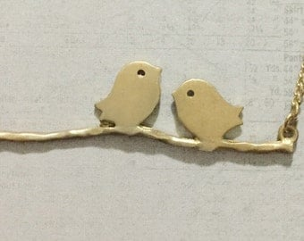 Love Birds Sitting on a Branch Charm Necklace
