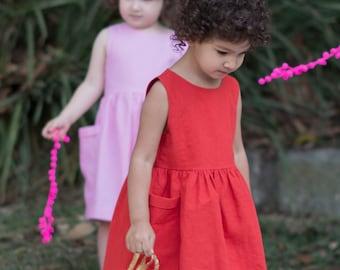 Red Toddler Dress, Birthday Outfit, Dress with Pockets, Girls Dress, Girl Dress Pockets, Party Dress, Linen Dress, Linen Dress Wedding