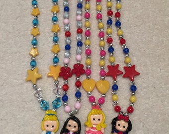 Girl's Necklace with Disney Princesses and Strawberry Shortcake Dolls Pendant