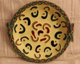 Mosaic bowl with cut glass squiggles