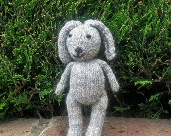 Grey Rabbit - a  hand knitted soft toy bunny in natural coloured Hebridean/mohair 100% wool mix