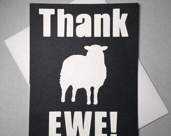 Thank EWE Card, Funny Thank You Card, Sheep Card