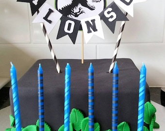 Dinosaur Cake bunting - Personalised dinosaur, Black, white and green,  Cake topper, Dinosaur party, Jurassic Park cake topper, personalized
