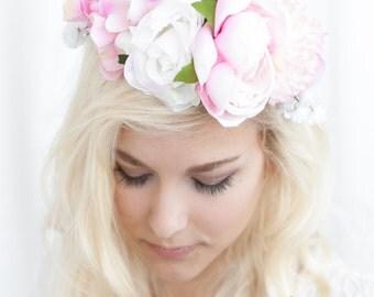 Pink Flower Crown, Bridal Flower Crown, Flower Crown, Flower Halo, Floral Head Wreath, Floral Halo, Wedding Flower Crown, Bridal Halo